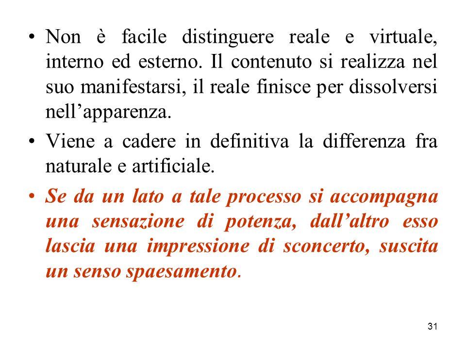 31 Non è facile distinguere reale e virtuale, interno ed esterno.