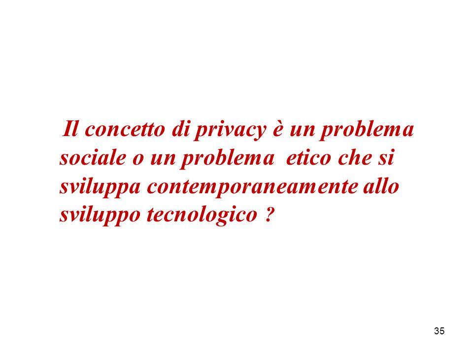 Il concetto di privacy è un problema sociale o un problema etico che si sviluppa contemporaneamente allo sviluppo tecnologico .
