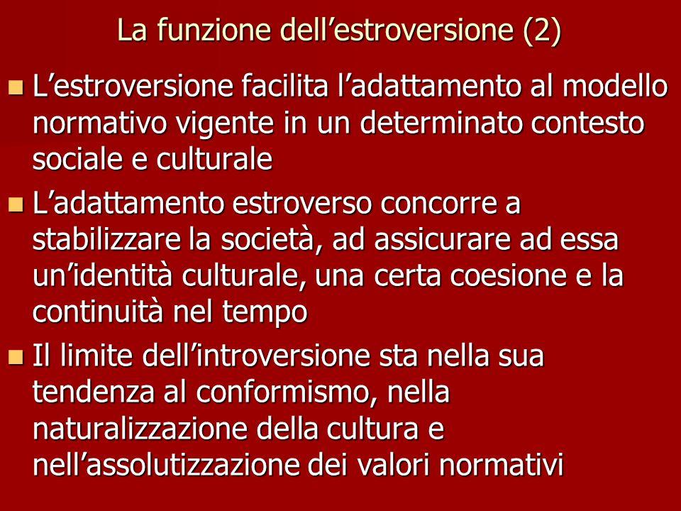 La funzione dell'estroversione (2) L'estroversione facilita l'adattamento al modello normativo vigente in un determinato contesto sociale e culturale L'estroversione facilita l'adattamento al modello normativo vigente in un determinato contesto sociale e culturale L'adattamento estroverso concorre a stabilizzare la società, ad assicurare ad essa un'identità culturale, una certa coesione e la continuità nel tempo L'adattamento estroverso concorre a stabilizzare la società, ad assicurare ad essa un'identità culturale, una certa coesione e la continuità nel tempo Il limite dell'introversione sta nella sua tendenza al conformismo, nella naturalizzazione della cultura e nell'assolutizzazione dei valori normativi Il limite dell'introversione sta nella sua tendenza al conformismo, nella naturalizzazione della cultura e nell'assolutizzazione dei valori normativi