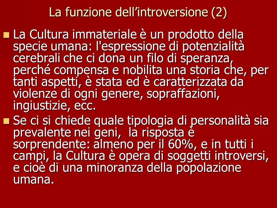 La funzione dell'introversione (2) La Cultura immateriale è un prodotto della specie umana: l'espressione di potenzialità cerebrali che ci dona un fil