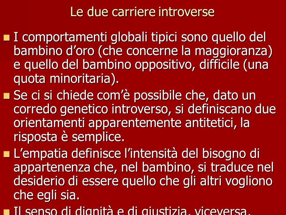 Le due carriere introverse I comportamenti globali tipici sono quello del bambino d'oro (che concerne la maggioranza) e quello del bambino oppositivo,