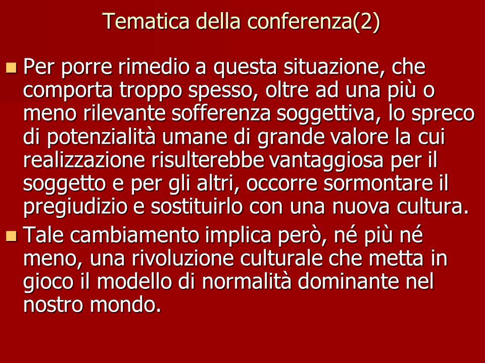 Tematica della conferenza(2) Per porre rimedio a questa situazione, che comporta troppo spesso, oltre ad una più o meno rilevante sofferenza soggettiv