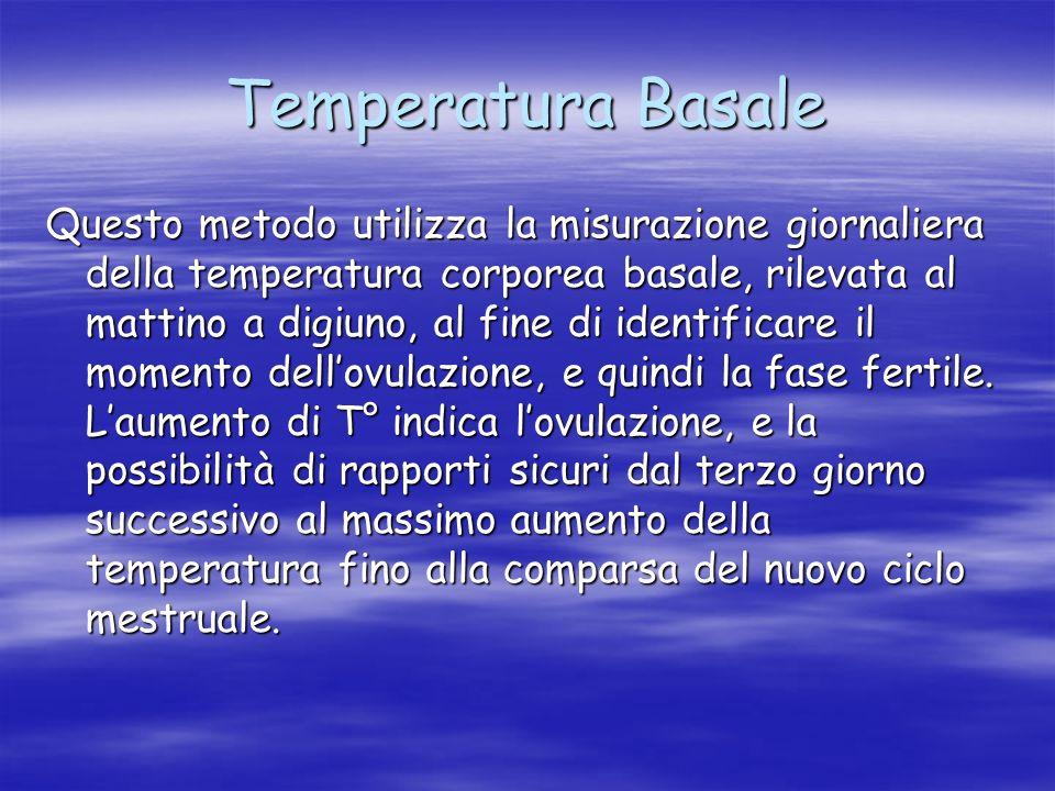 Temperatura Basale Questo metodo utilizza la misurazione giornaliera della temperatura corporea basale, rilevata al mattino a digiuno, al fine di iden