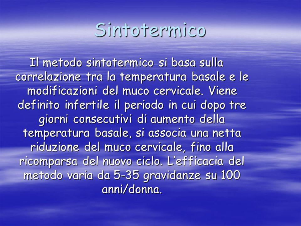 Sintotermico Il metodo sintotermico si basa sulla correlazione tra la temperatura basale e le modificazioni del muco cervicale. Viene definito inferti