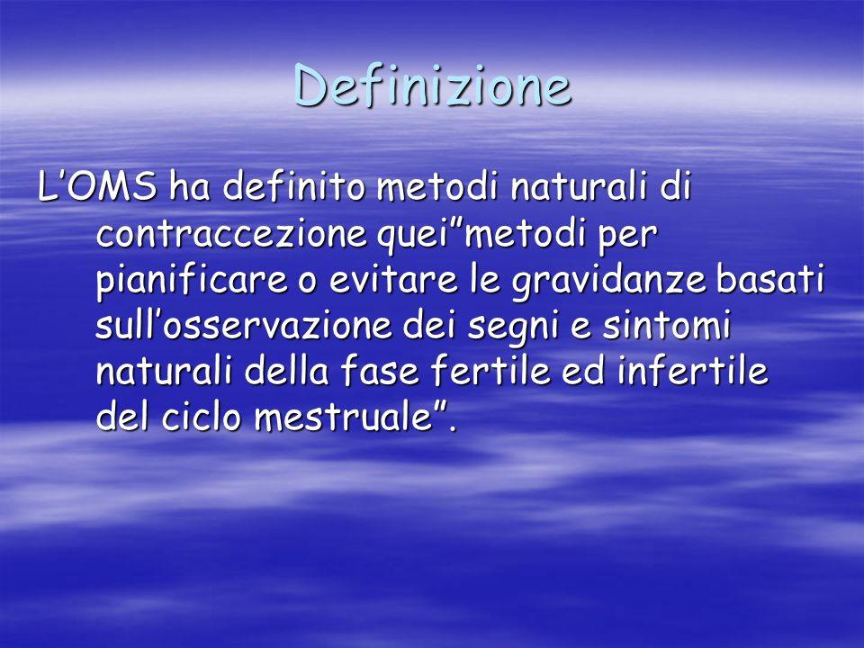 """Definizione L'OMS ha definito metodi naturali di contraccezione quei""""metodi per pianificare o evitare le gravidanze basati sull'osservazione dei segni"""