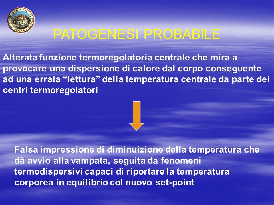 """PATOGENESI PROBABILE Alterata funzione termoregolatoria centrale che mira a provocare una dispersione di calore dal corpo conseguente ad una errata """"l"""