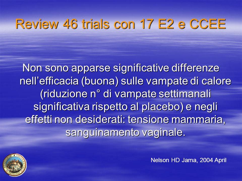 Review 46 trials con 17 E2 e CCEE Non sono apparse significative differenze nell'efficacia (buona) sulle vampate di calore (riduzione n° di vampate se