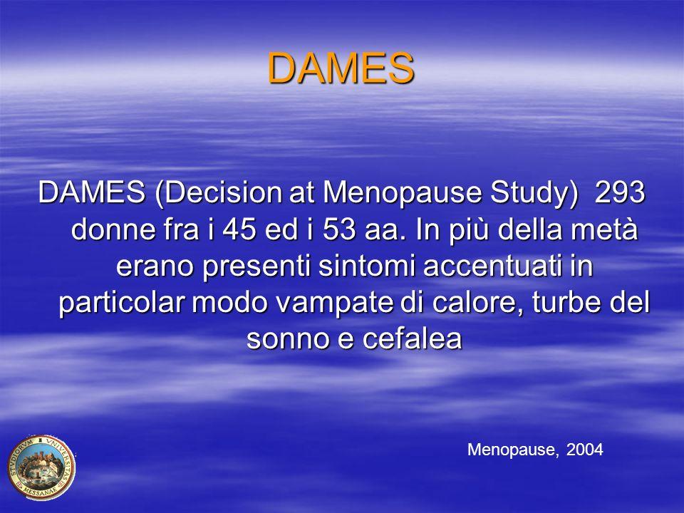 DAMES DAMES (Decision at Menopause Study) 293 donne fra i 45 ed i 53 aa. In più della metà erano presenti sintomi accentuati in particolar modo vampat