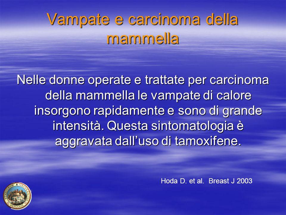 Vampate e carcinoma della mammella Nelle donne operate e trattate per carcinoma della mammella le vampate di calore insorgono rapidamente e sono di gr