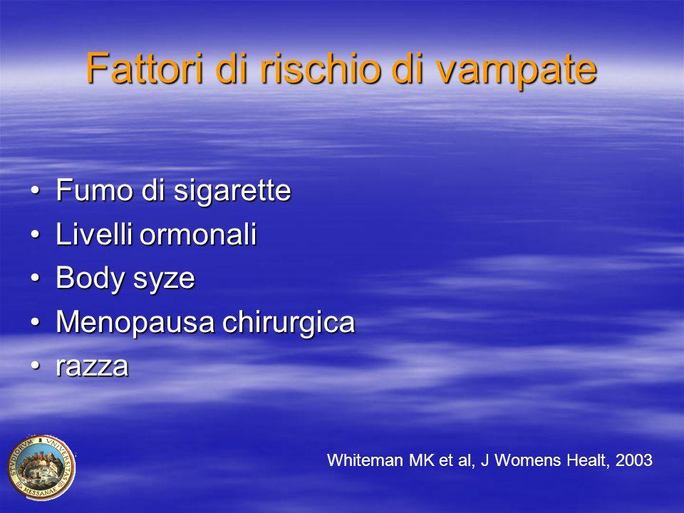 Fattori di rischio di vampate Fumo di sigaretteFumo di sigarette Livelli ormonaliLivelli ormonali Body syzeBody syze Menopausa chirurgicaMenopausa chi