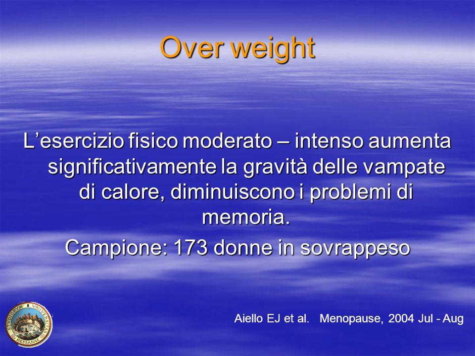 Over weight L'esercizio fisico moderato – intenso aumenta significativamente la gravità delle vampate di calore, diminuiscono i problemi di memoria. C