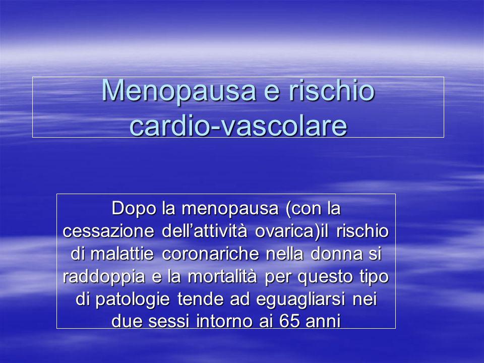 Menopausa e rischio cardio-vascolare Dopo la menopausa (con la cessazione dell'attività ovarica)il rischio di malattie coronariche nella donna si radd