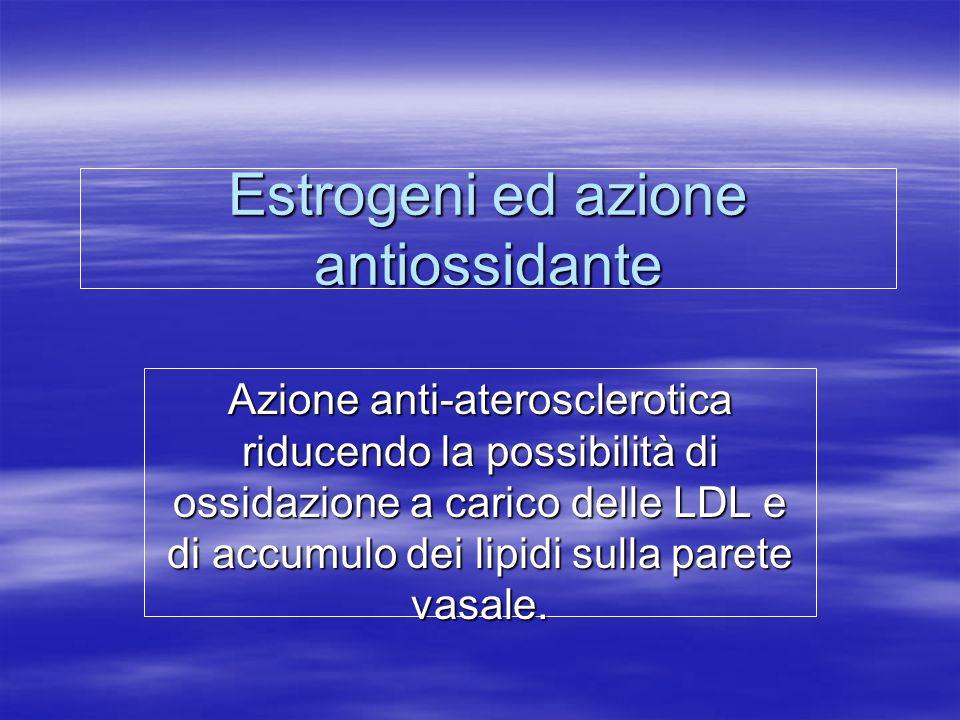 Estrogeni ed azione antiossidante Azione anti-aterosclerotica riducendo la possibilità di ossidazione a carico delle LDL e di accumulo dei lipidi sull