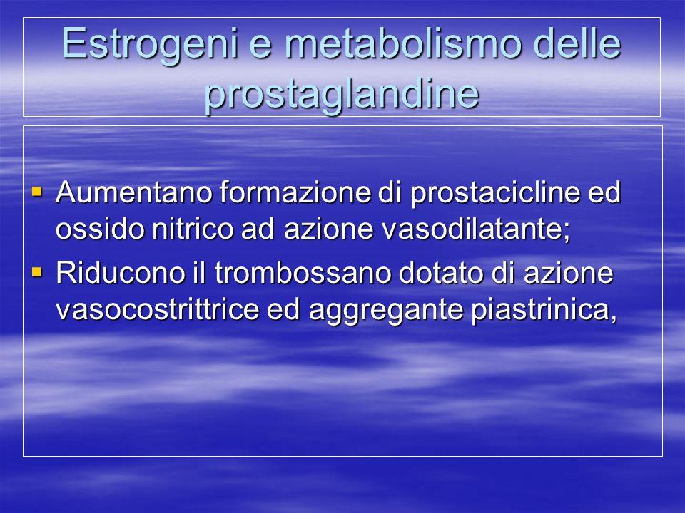 Estrogeni e metabolismo delle prostaglandine  Aumentano formazione di prostacicline ed ossido nitrico ad azione vasodilatante;  Riducono il tromboss