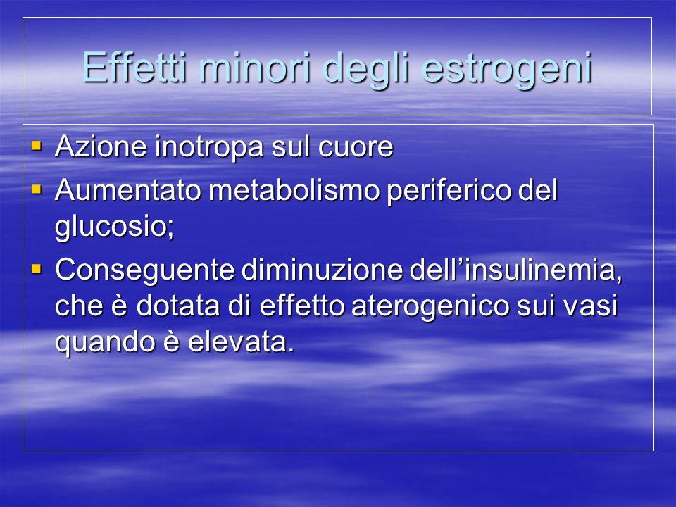 Effetti minori degli estrogeni  Azione inotropa sul cuore  Aumentato metabolismo periferico del glucosio;  Conseguente diminuzione dell'insulinemia