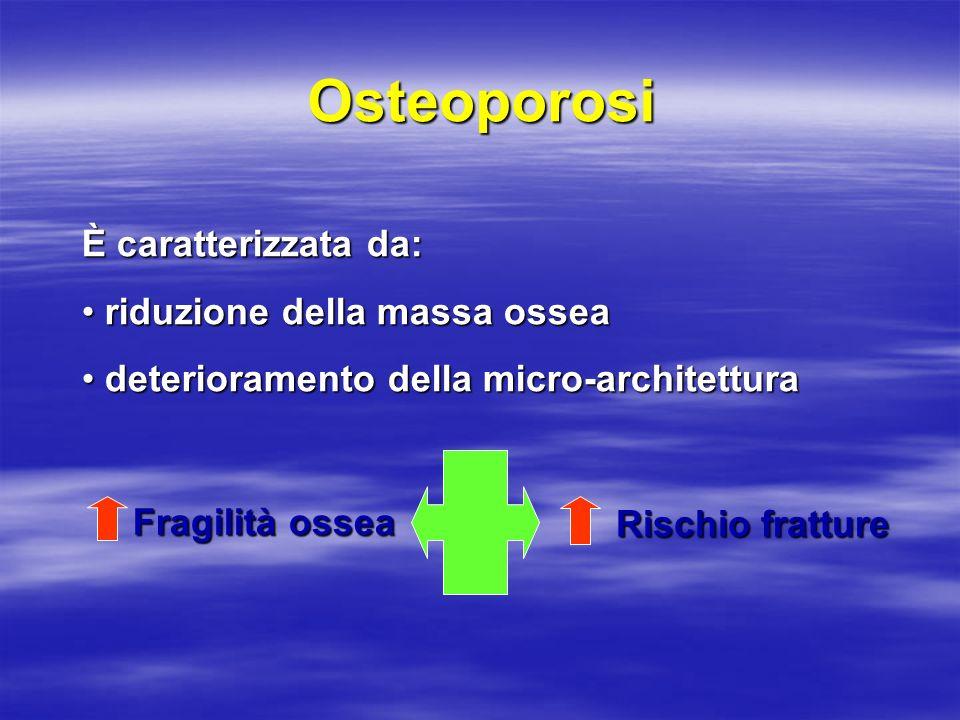 Osteoporosi È caratterizzata da: riduzione della massa ossea riduzione della massa ossea deterioramento della micro-architettura deterioramento della