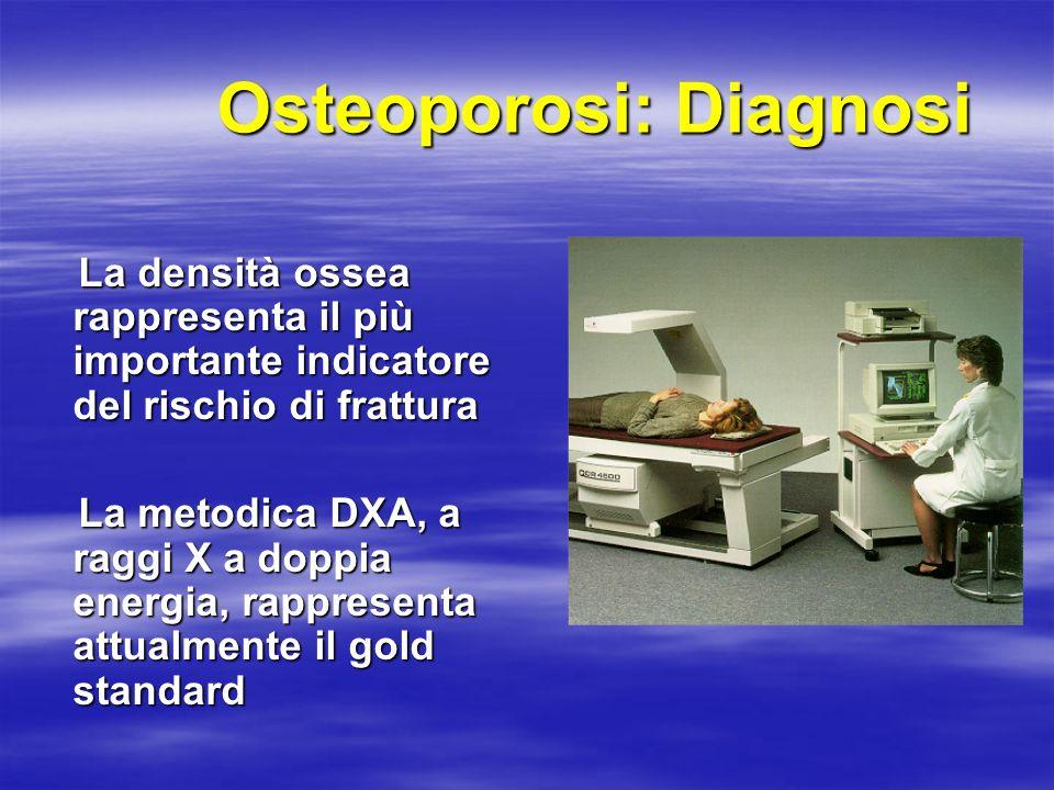 Osteoporosi: Diagnosi La densità ossea rappresenta il più importante indicatore del rischio di frattura La densità ossea rappresenta il più importante