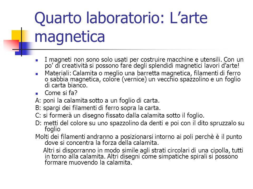 Quarto laboratorio: L'arte magnetica I magneti non sono solo usati per costruire macchine e utensili. Con un po' di creatività si possono fare degli s