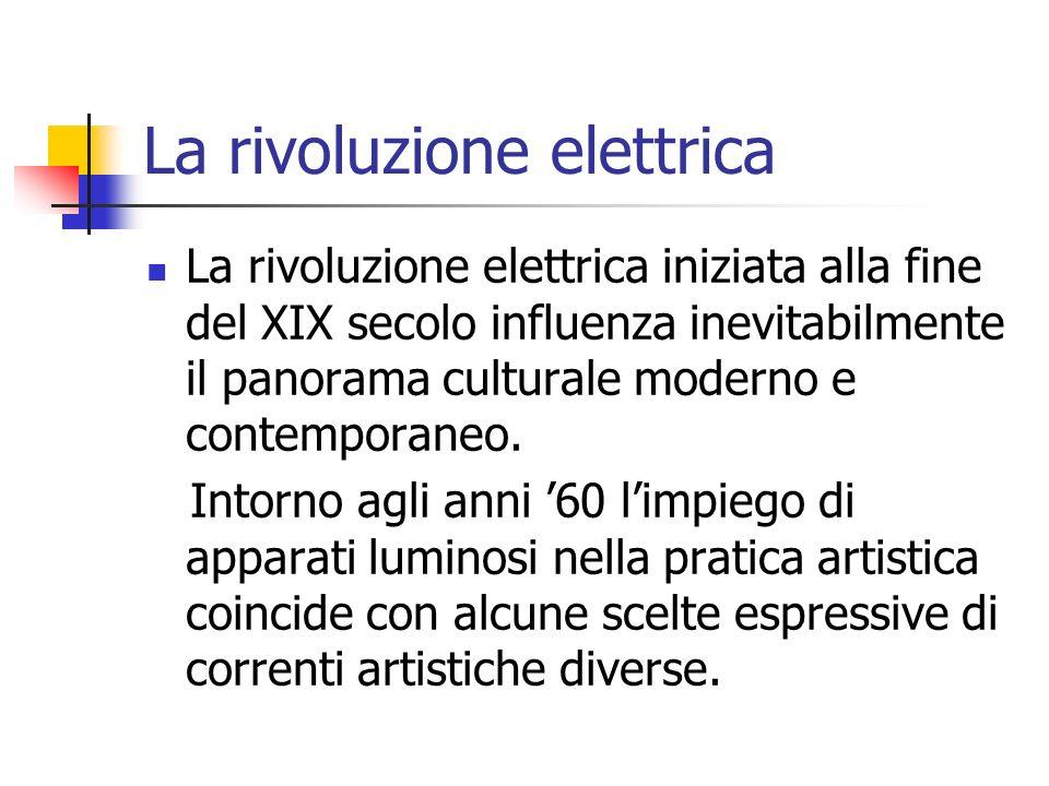 La rivoluzione elettrica La rivoluzione elettrica iniziata alla fine del XIX secolo influenza inevitabilmente il panorama culturale moderno e contemporaneo.
