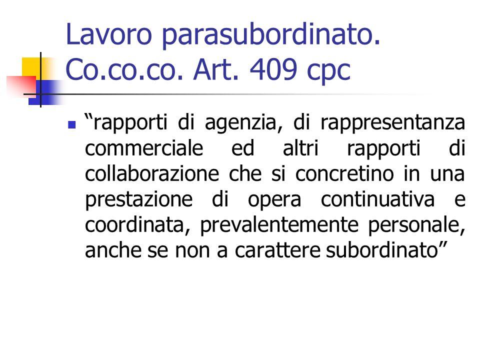 Lavoro parasubordinato. Co.co.co. Art.