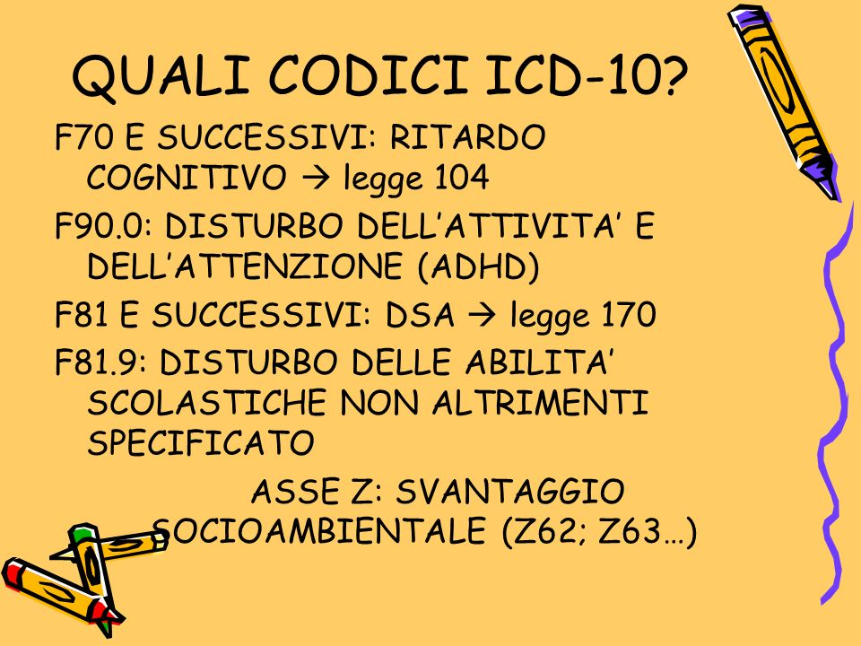 QUALI CODICI ICD-10? F70 E SUCCESSIVI: RITARDO COGNITIVO  legge 104 F90.0: DISTURBO DELL'ATTIVITA' E DELL'ATTENZIONE (ADHD) F81 E SUCCESSIVI: DSA  l