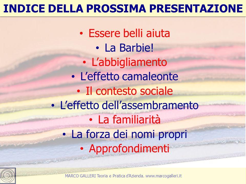 27 MARCO GALLERI Teoria e Pratica d'Azienda. www.marcogalleri.it Essere belli aiuta La Barbie.