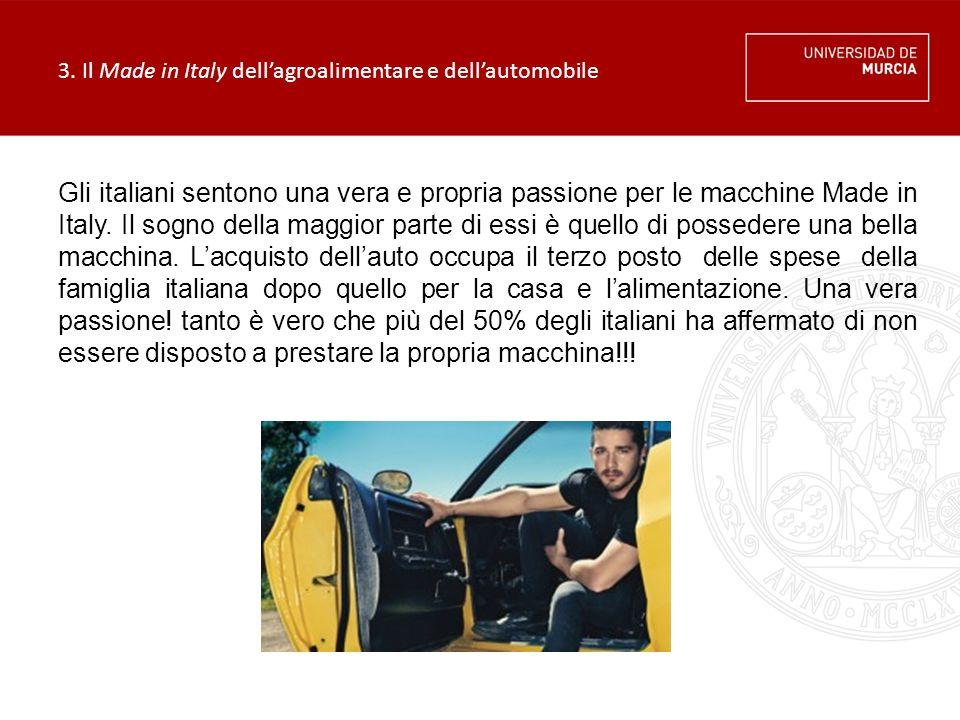 3. Il Made in Italy dell'agroalimentare e dell'automobile Gli italiani sentono una vera e propria passione per le macchine Made in Italy. Il sogno del