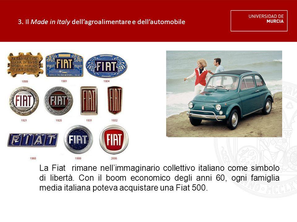 3. Il Made in Italy dell'agroalimentare e dell'automobile La Fiat rimane nell'immaginario collettivo italiano come simbolo di libertà. Con il boom eco