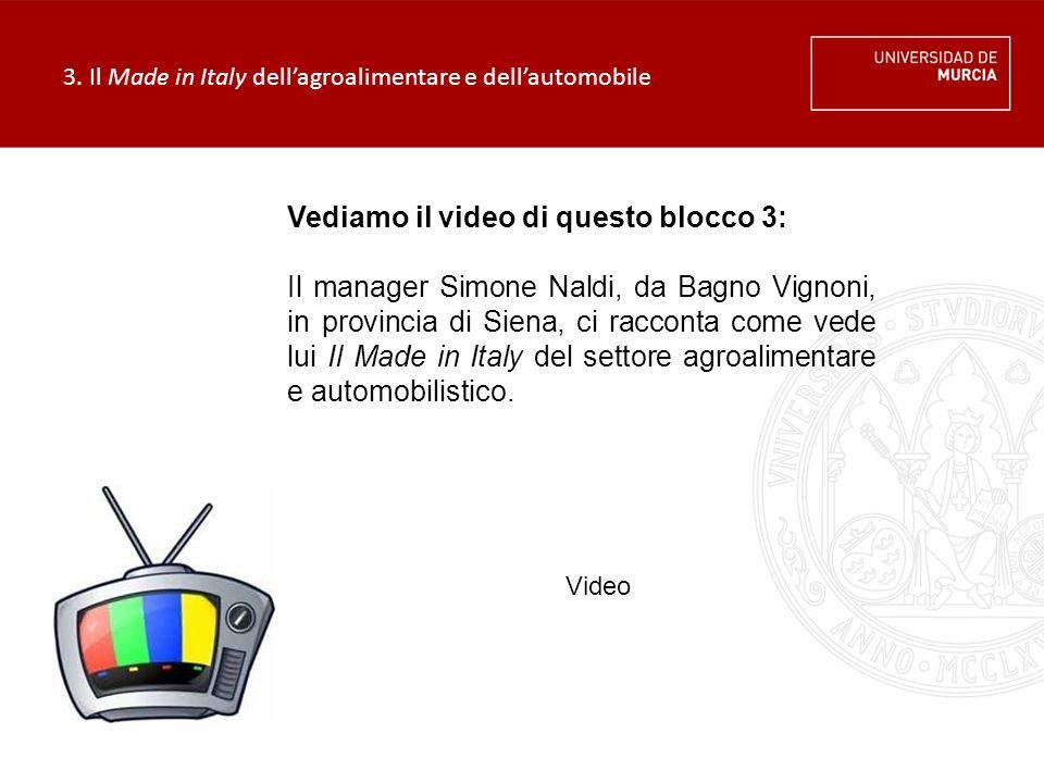 3. Il Made in Italy dell'agroalimentare e dell'automobile Vediamo il video di questo blocco 3: Il manager Simone Naldi, da Bagno Vignoni, in provincia