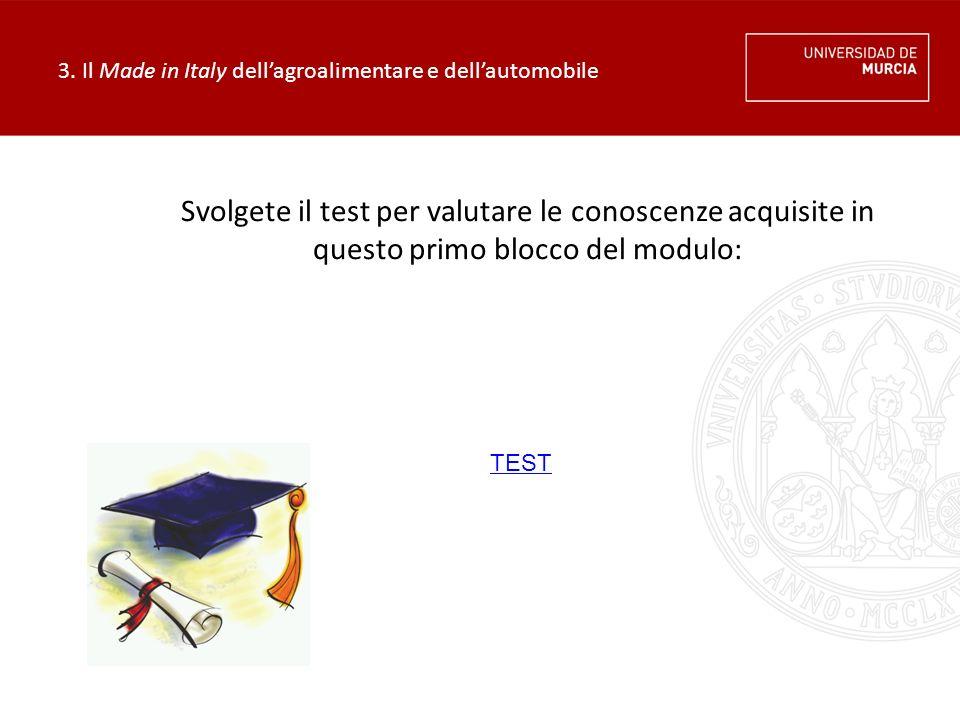 3. Il Made in Italy dell'agroalimentare e dell'automobile Svolgete il test per valutare le conoscenze acquisite in questo primo blocco del modulo: TES