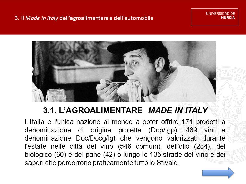 3. Il Made in Italy dell'agroalimentare e dell'automobile L'Italia è l'unica nazione al mondo a poter offrire 171 prodotti a denominazione di origine