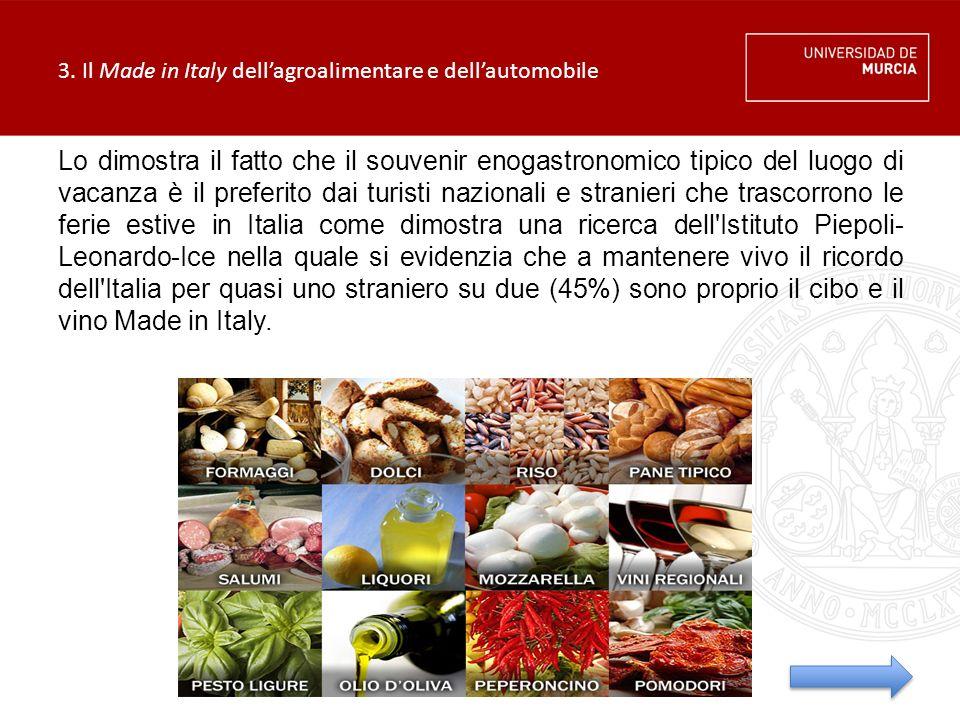 3. Il Made in Italy dell'agroalimentare e dell'automobile Lo dimostra il fatto che il souvenir enogastronomico tipico del luogo di vacanza è il prefer
