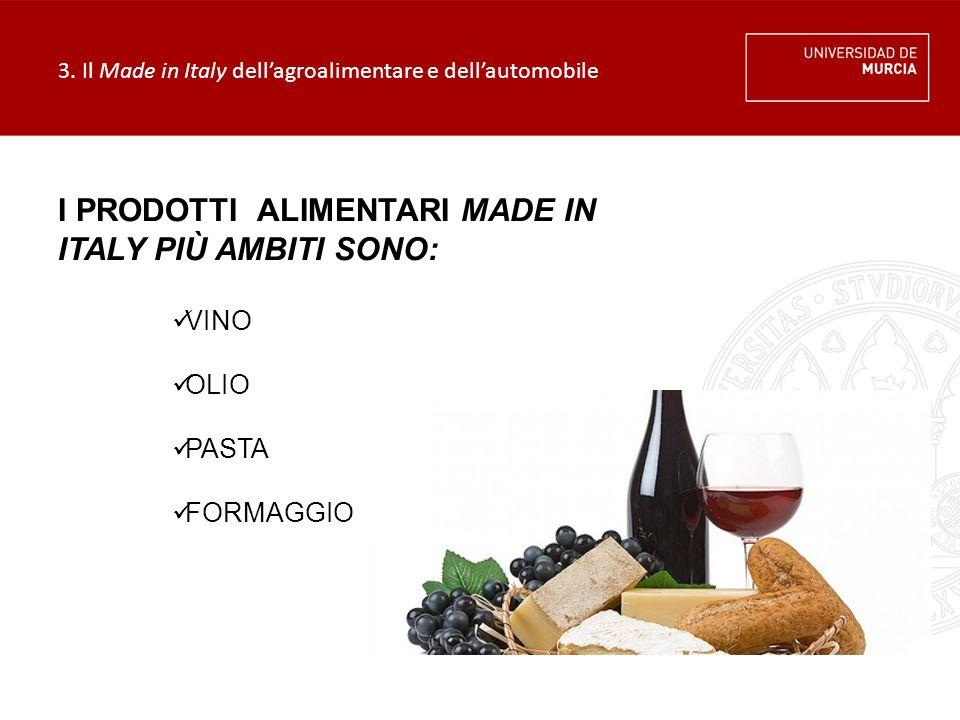 3. Il Made in Italy dell'agroalimentare e dell'automobile VINO OLIO PASTA FORMAGGIO I PRODOTTI ALIMENTARI MADE IN ITALY PIÙ AMBITI SONO:
