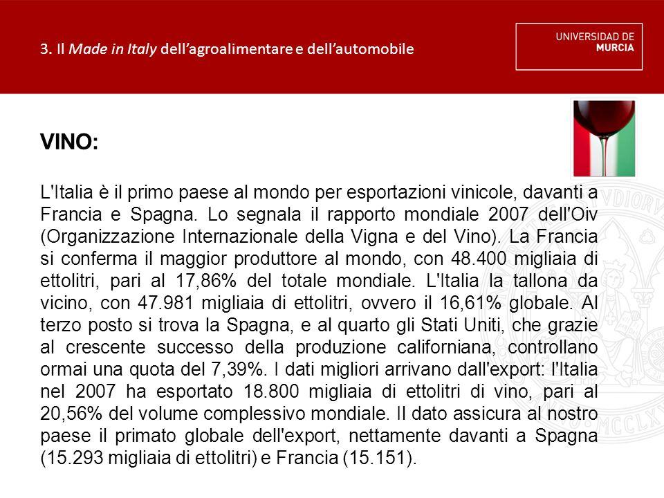 3. Il Made in Italy dell'agroalimentare e dell'automobile VINO: L'Italia è il primo paese al mondo per esportazioni vinicole, davanti a Francia e Spag