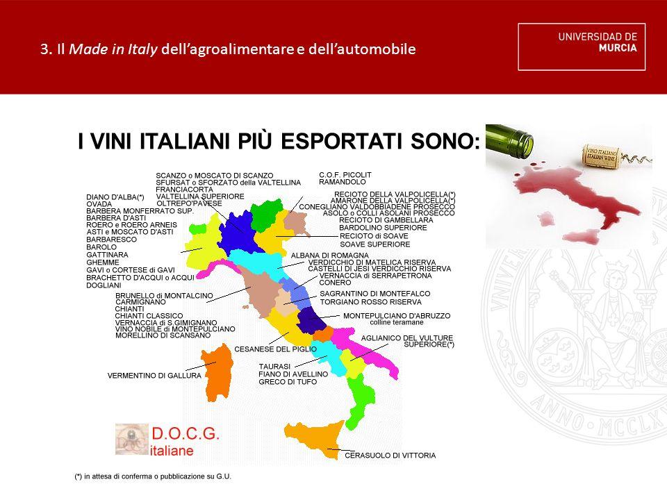 3. Il Made in Italy dell'agroalimentare e dell'automobile I VINI ITALIANI PIÙ ESPORTATI SONO: