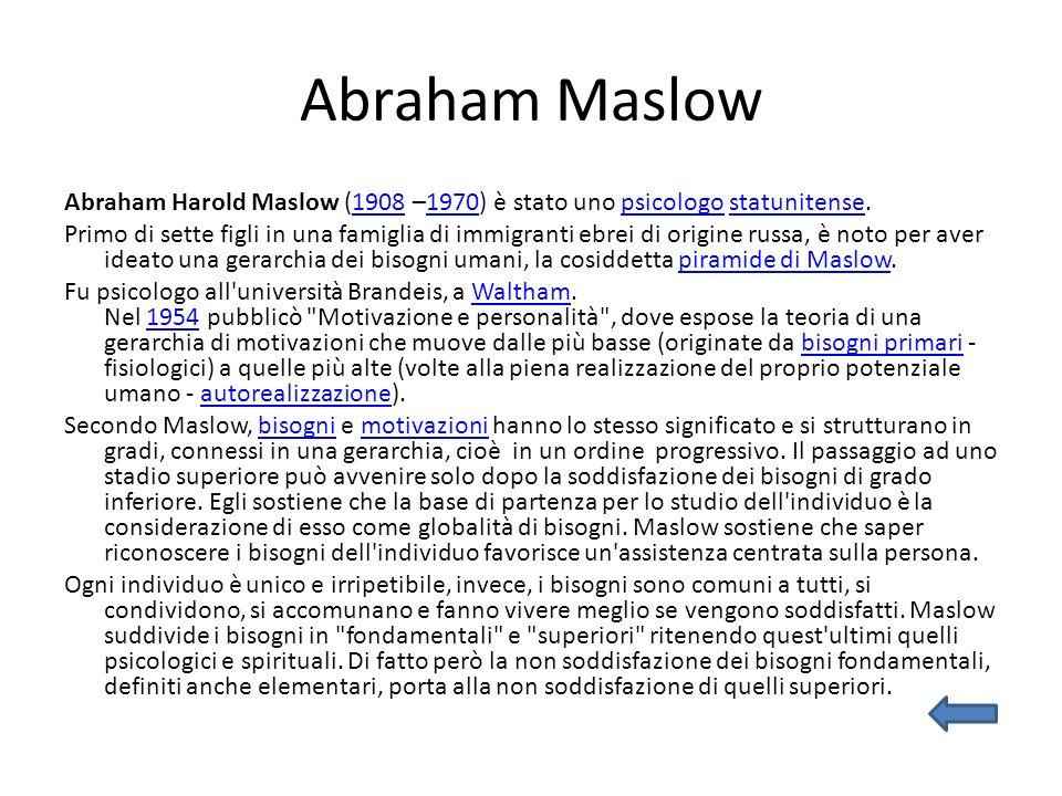 Abraham Maslow Abraham Harold Maslow (1908 –1970) è stato uno psicologo statunitense.19081970psicologostatunitense Primo di sette figli in una famiglia di immigranti ebrei di origine russa, è noto per aver ideato una gerarchia dei bisogni umani, la cosiddetta piramide di Maslow.piramide di Maslow Fu psicologo all università Brandeis, a Waltham.