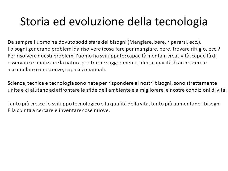 Storia ed evoluzione della tecnologia Da sempre l'uomo ha dovuto soddisfare dei bisogni (Mangiare, bere, ripararsi, ecc.). I bisogni generano problemi