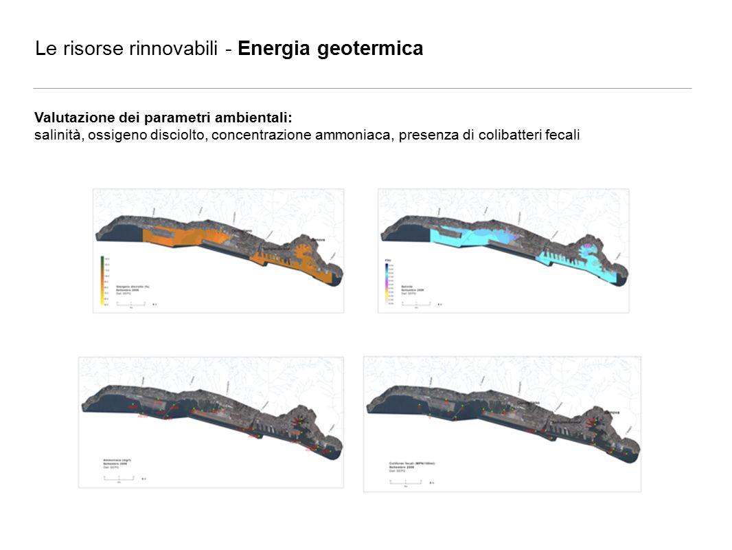 Le risorse rinnovabili - Energia geotermica Valutazione dei parametri ambientali: salinità, ossigeno disciolto, concentrazione ammoniaca, presenza di colibatteri fecali