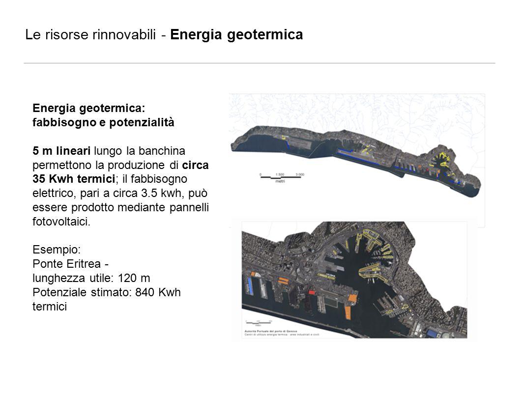 Energia geotermica: fabbisogno e potenzialità 5 m lineari lungo la banchina permettono la produzione di circa 35 Kwh termici; il fabbisogno elettrico, pari a circa 3.5 kwh, può essere prodotto mediante pannelli fotovoltaici.
