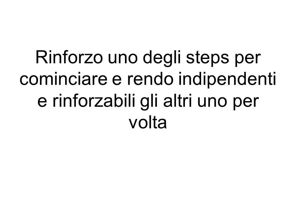 Rinforzo uno degli steps per cominciare e rendo indipendenti e rinforzabili gli altri uno per volta
