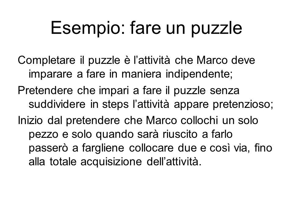 Esempio: fare un puzzle Completare il puzzle è l'attività che Marco deve imparare a fare in maniera indipendente; Pretendere che impari a fare il puzz