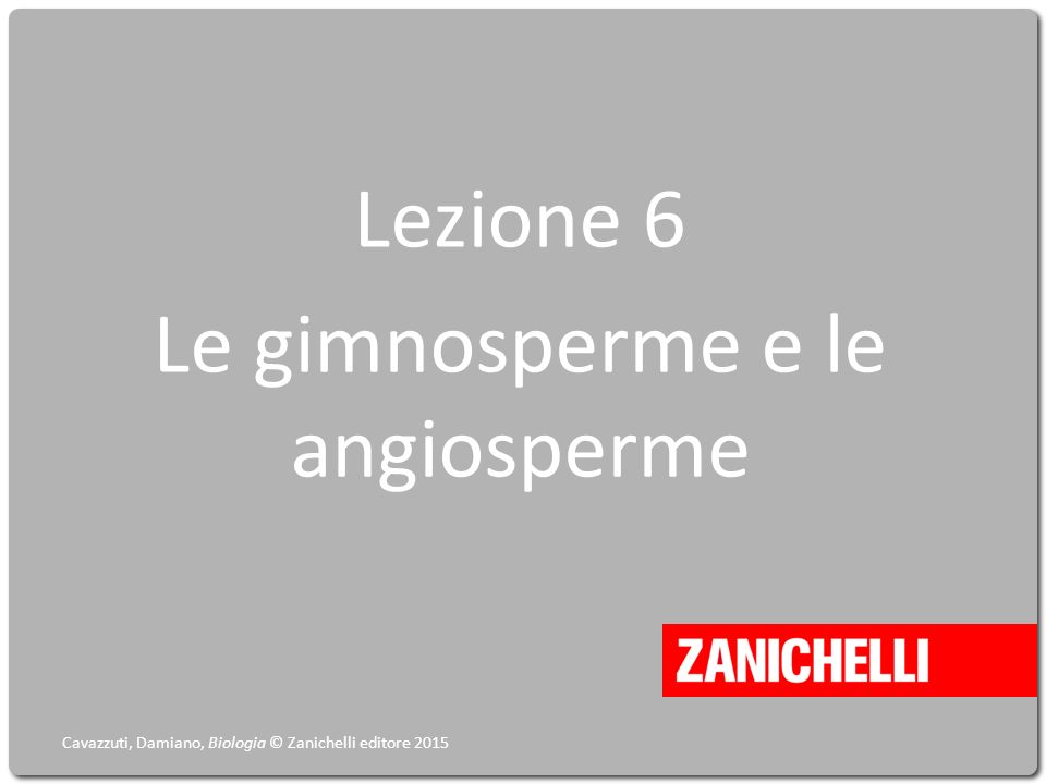 Lezione 6 Le gimnosperme e le angiosperme Cavazzuti, Damiano, Biologia © Zanichelli editore 2015