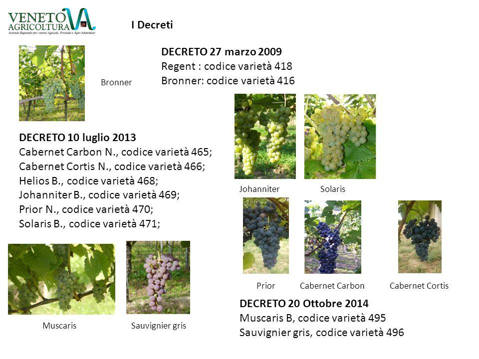 DECRETO 10 luglio 2013 Cabernet Carbon N., codice varietà 465; Cabernet Cortis N., codice varietà 466; Helios B., codice varietà 468; Johanniter B., c