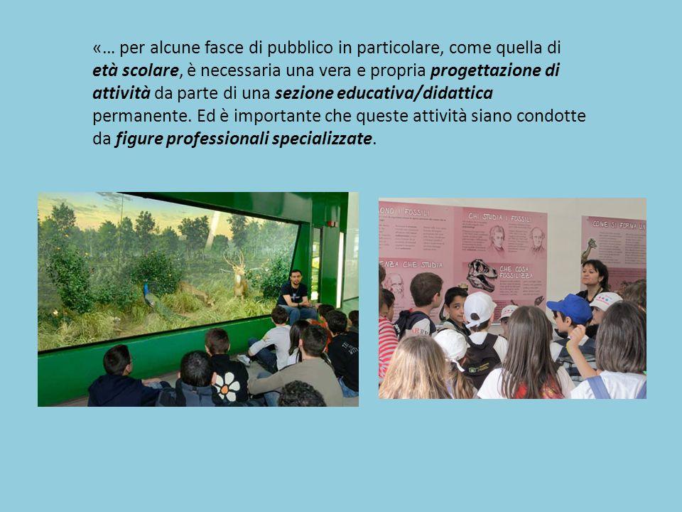 «… per alcune fasce di pubblico in particolare, come quella di età scolare, è necessaria una vera e propria progettazione di attività da parte di una sezione educativa/didattica permanente.