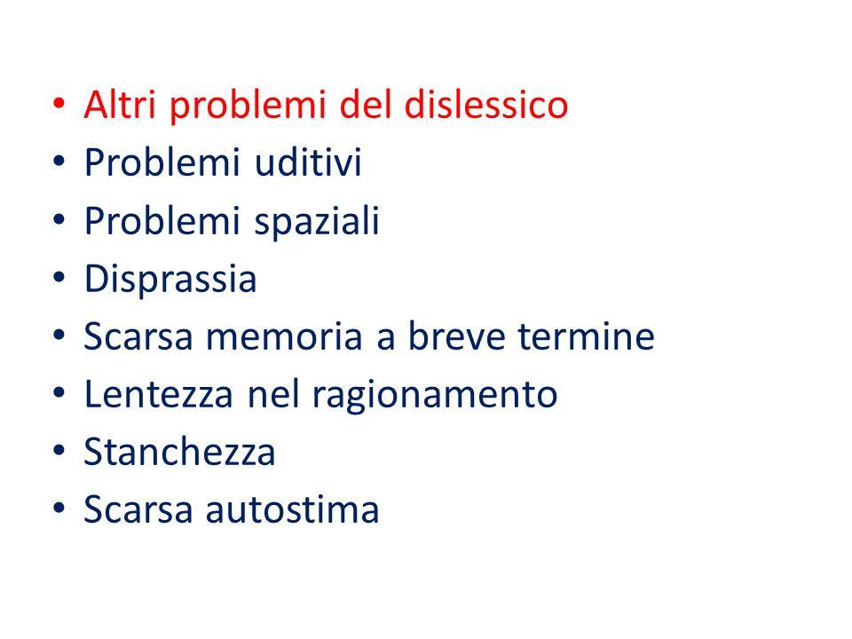 Altri problemi del dislessico Problemi uditivi Problemi spaziali Disprassia Scarsa memoria a breve termine Lentezza nel ragionamento Stanchezza Scarsa