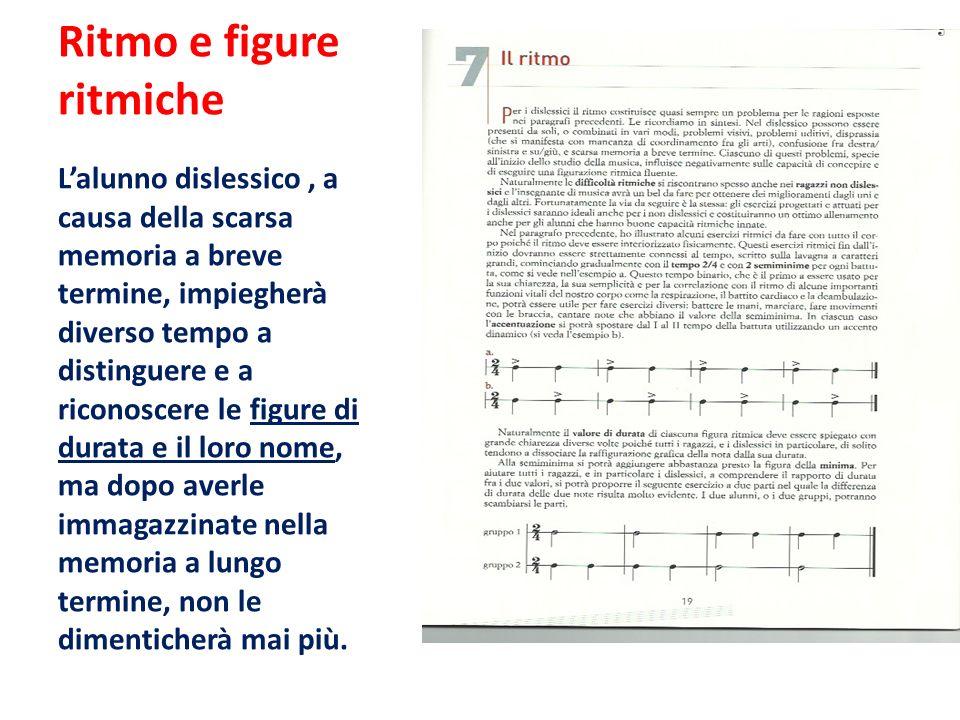 Ritmo e figure ritmiche L'alunno dislessico, a causa della scarsa memoria a breve termine, impiegherà diverso tempo a distinguere e a riconoscere le f