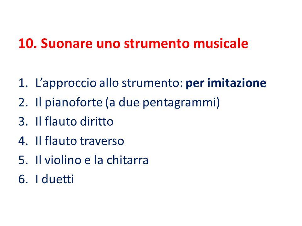 10. Suonare uno strumento musicale 1.L'approccio allo strumento: per imitazione 2.Il pianoforte (a due pentagrammi) 3.Il flauto diritto 4.Il flauto tr
