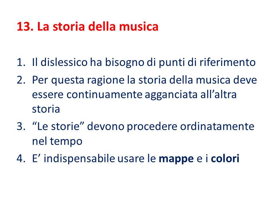 13. La storia della musica 1.Il dislessico ha bisogno di punti di riferimento 2.Per questa ragione la storia della musica deve essere continuamente ag