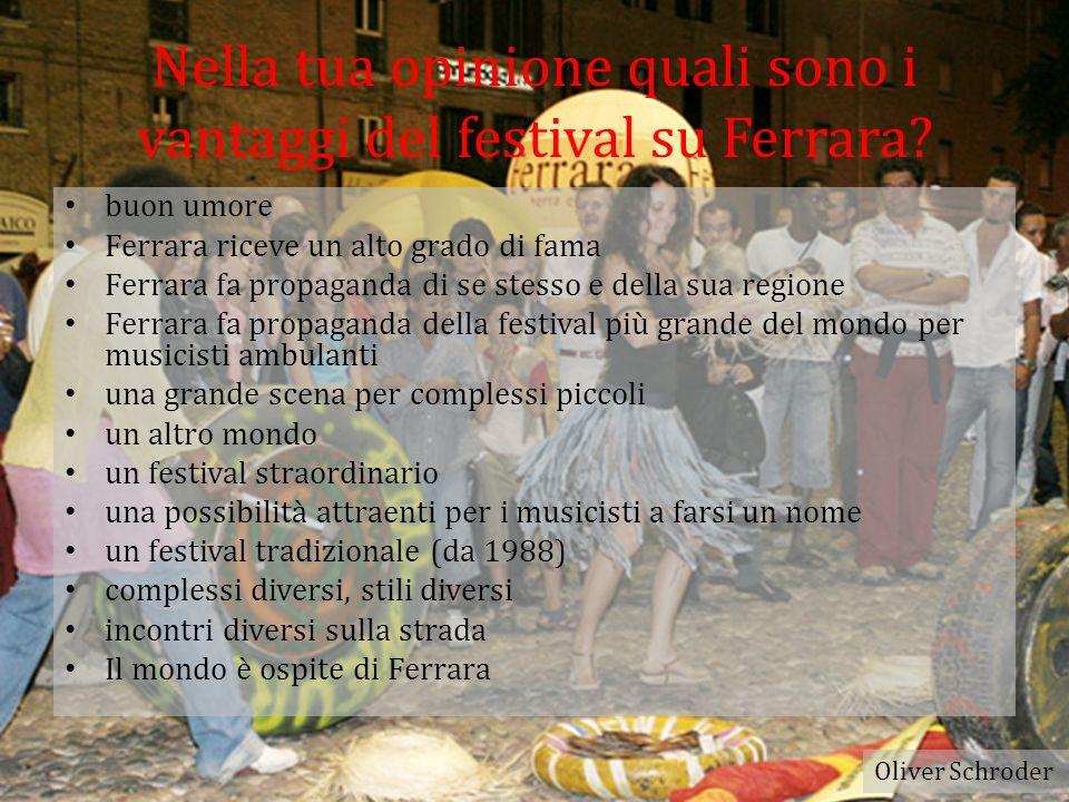 Nella tua opinione quali sono gli svantaggi del festival su Ferrara.