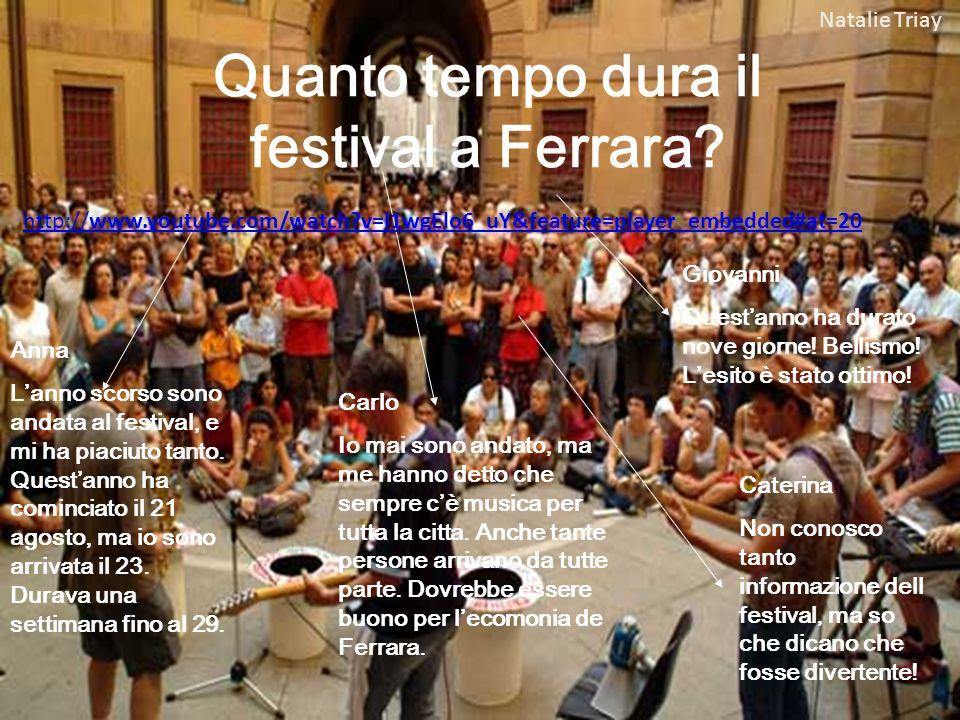 Quanto tempo dura il festival a Ferrara.